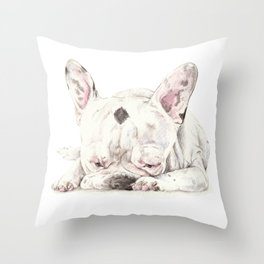 Sleepy Frenchie Watercolor Puppy Throw Pillow