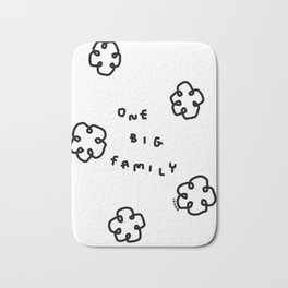 One Big Family - Black White Illustration Bath Mat