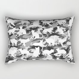 Black and White Catmouflage Camouflage Rectangular Pillow