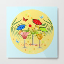 Hello Summer, vector illustration with text Metal Print