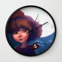 kiki Wall Clocks featuring Kiki & Jiji by Leanne Huynh