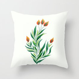 Abstract Green Plant With Orange Buds Throw Pillow