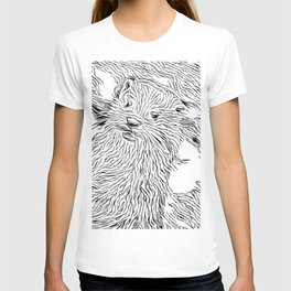 Inky Black and White -Otter T-shirt