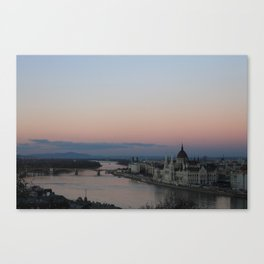 Sunset over The Danube Canvas Print