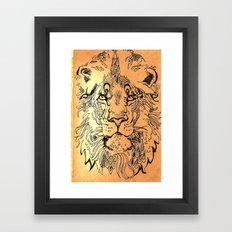 Lion elaborate Framed Art Print