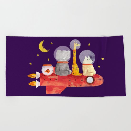 Let's All Go To Mars Beach Towel