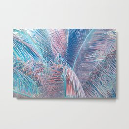 Neon Palm Leaves Metal Print