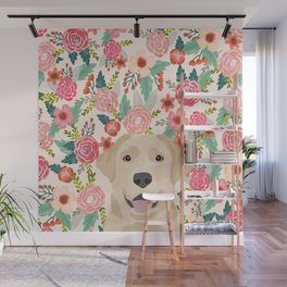 Labrador Retriever yellow lab floral pattern cute florals dog breed pure breed dog lover gifts Wall Mural