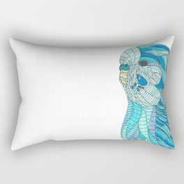 'Stained Glass Budgie' Ombre Blue Line work Geometric Illustrated Budgie Rectangular Pillow