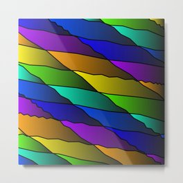 Slanting rainbow lines and rhombuses on violet with intersection of glare. Metal Print