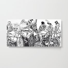 Calavera Cyclists | Day of the Dead | Dia de los Muertos | Skulls and Skeletons | Vintage Skeletons | Black and White |  Metal Print