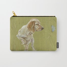 The First Spring Butterfly English Setter Puppy Pastel Drawing on green background Carry-All Pouch