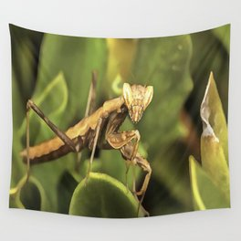 Praying Mantis On Green Garden Background Wall Tapestry