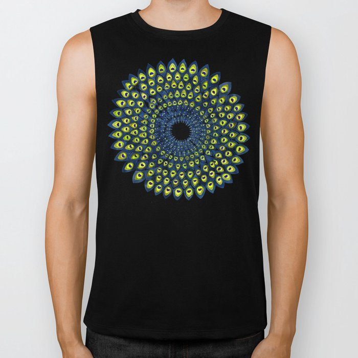 Peacock Feather Mandala – Navy & Lime Palette Biker Tank