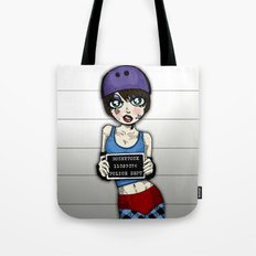 Wanted Skater Roller Derby Mugshot by RonkyTonk Tote Bag