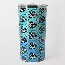 ocean petals - swirl repeating geometric pattern - symmetrical - cool tones blotchy gradient Travel Mug