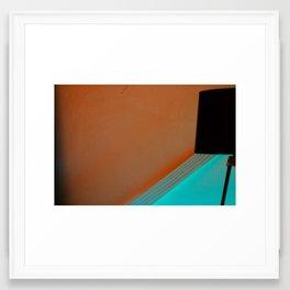 Black Lamp Orange and Teal Framed Art Print