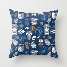 tiki masks blue seamless pattern Throw Pillow