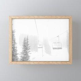 Ski Lift Horizon // Ride to the Peak Epic Adventure Whiteout Black and White Minimal Photograph  Framed Mini Art Print