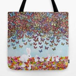 bunnies, flowers, and butterflies Tote Bag
