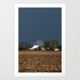 Dark Blue Farm Sky Art Print