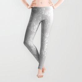 Grey and White Zinnias Leggings
