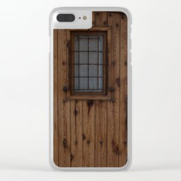 Old Brown Knotty Wooden Door Clear iPhone Case