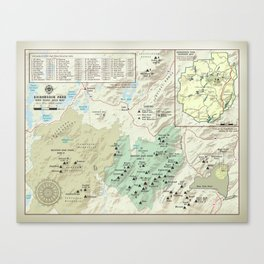 Adirondack 46er [vintage inspired] High Peaks area map Leinwanddruck