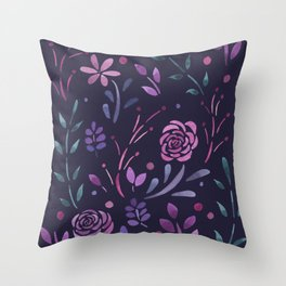 Fresh Floral - Dark Throw Pillow
