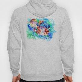 Underwater Scene Artwork, Discus Fish, Turquoise blue pink aquatic design Hoody