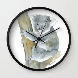 Koala Watercolor Painting Wall Clock