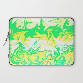 The hurricane, abstract color storm in green, white and yellow Laptop Sleeve