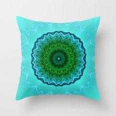 Mandala 16 Aqua Throw Pillow