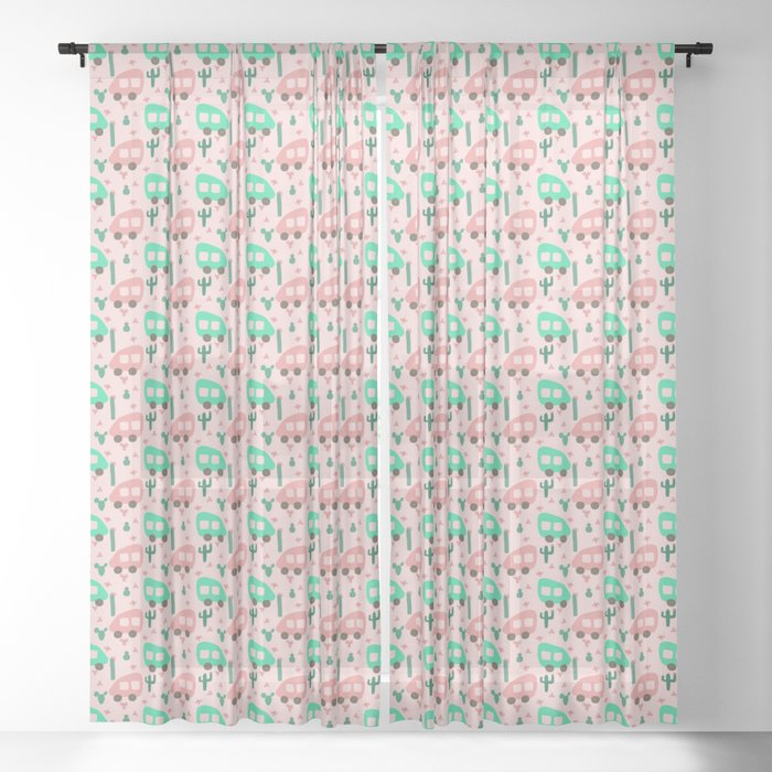 Small Camper Vans in Pink and Mint with Green Cactus and Pink Flowers Sheer  Curtain by podartist