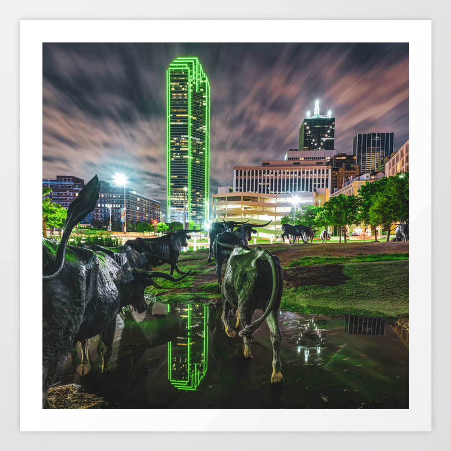 Dallas Skyline And Texas Longhorn Cattle Drive Sculptures Art Print By Gregoryballosfineart Society6
