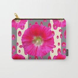 PINK-CERISE HOLLYHOCK FLOWERS  CREAM & GREY GARDEN Carry-All Pouch