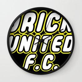 BRICK UNITED FOOTBALL CLUB [F.C.] in Brick Font Logo Design by Chillee Wilson Wall Clock