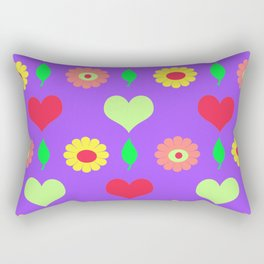 Purple daisy and heart all over print Rectangular Pillow