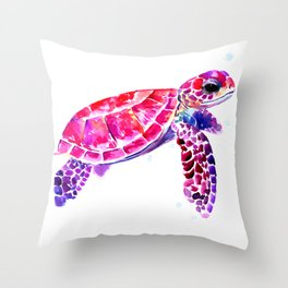 Purple Turtle Bright Pink, purple blue turtle illustration, children room decor Throw Pillow
