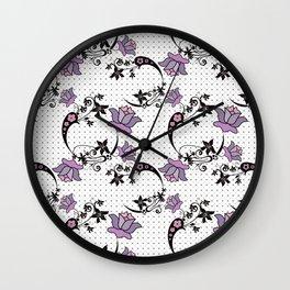 Floral pattern on black mesh . Wall Clock