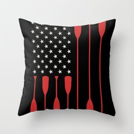 American Flag Paddle Boating Fisherman Throw Pillow