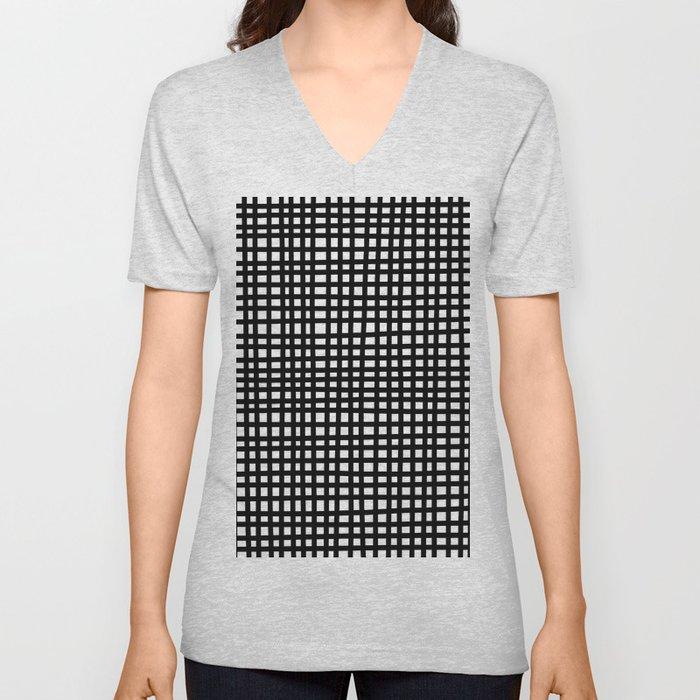 Black and White Gingham Unisex V-Neck