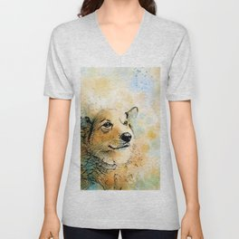 Dog 143 Corgi Unisex V-Neck