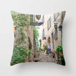 French Alley Light - Stairs through cute brick houses with blue shutters | Travel photography in France, Europe Throw Pillow