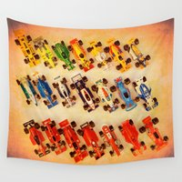 cars Wall Tapestries featuring RACE CARS by Teresa Chipperfield Studios