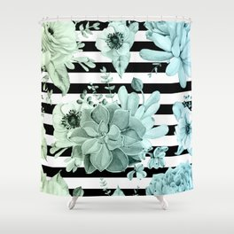 Succulents in the Garden Teal Blue Green Gradient with Black Stripes Shower Curtain