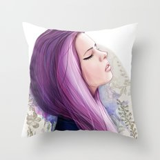 Pink hair Throw Pillow