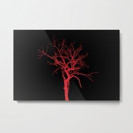 Witchy Tree Silhouette, red on black. Minimal minimalist minimalism Metal Print