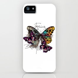 Fashion art print with colorful tropical butterly iPhone Case
