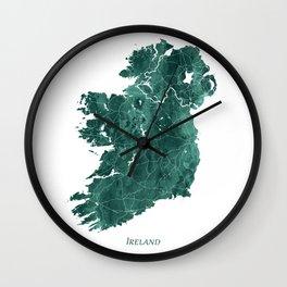 Ireland Watercolor Emerald Green Map Art by Zouzounio Art Wall Clock